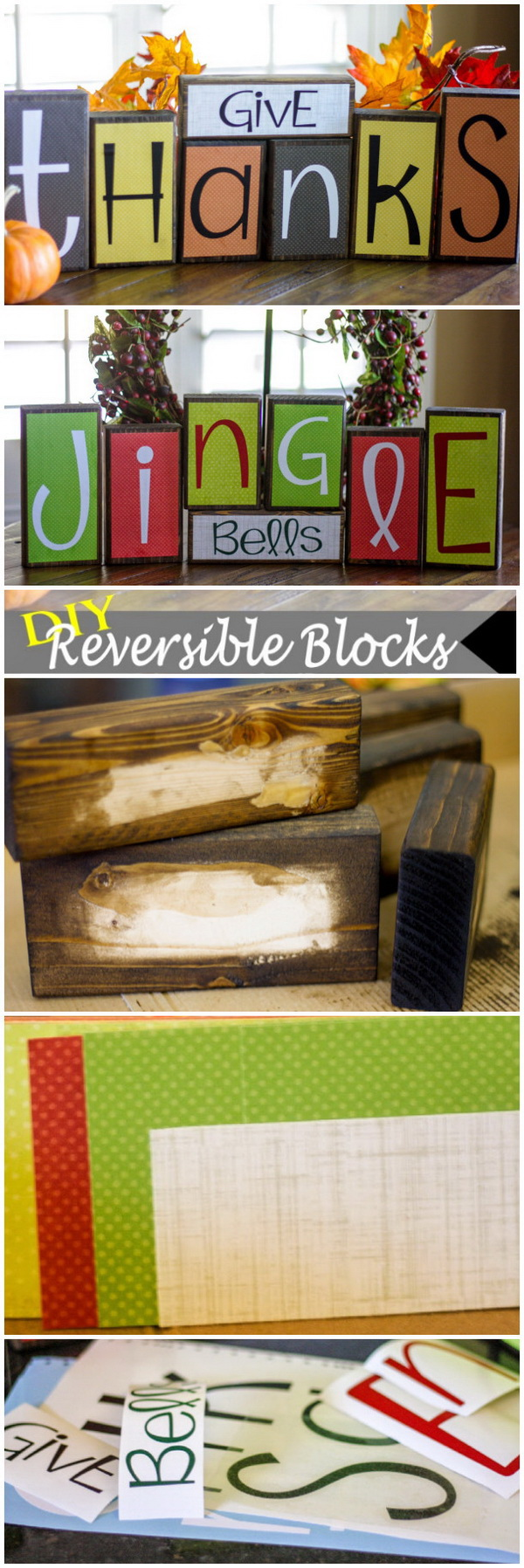 DIY Reversible Wooden Holiday Blocks. Decorating your home for the changing seasons can be fun and easy with these reversible seasonal blocks. These are and easy and beautiful craft. AND they do double duty for Thanksgiving and Christmas or change with vinyl lettering for other holiday!