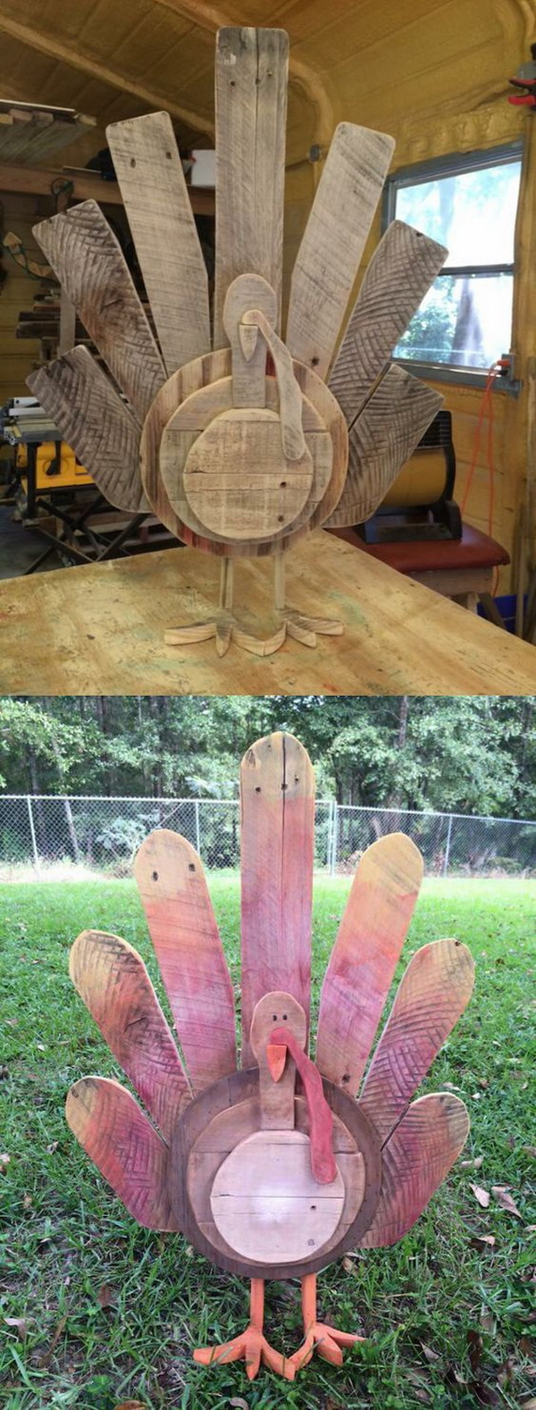 DIY Thanksgiving Turkey Decor. Make a wooden turkey for your thanksgiving decor out of reclaimed wood pallets. What you need are just some wood pallets and a bit of woodworking skills.