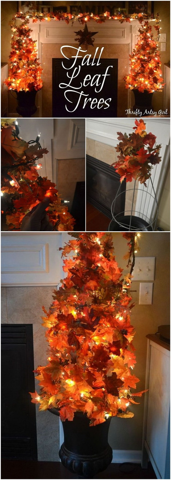 Easy DIY Fall Leaves Potted Topiary Tree. Create an easy fall leaves potted topiary tree with two urn planters and some fake leaves and fairy lights! Perfect in front of the fireplace for a fall decoration project.