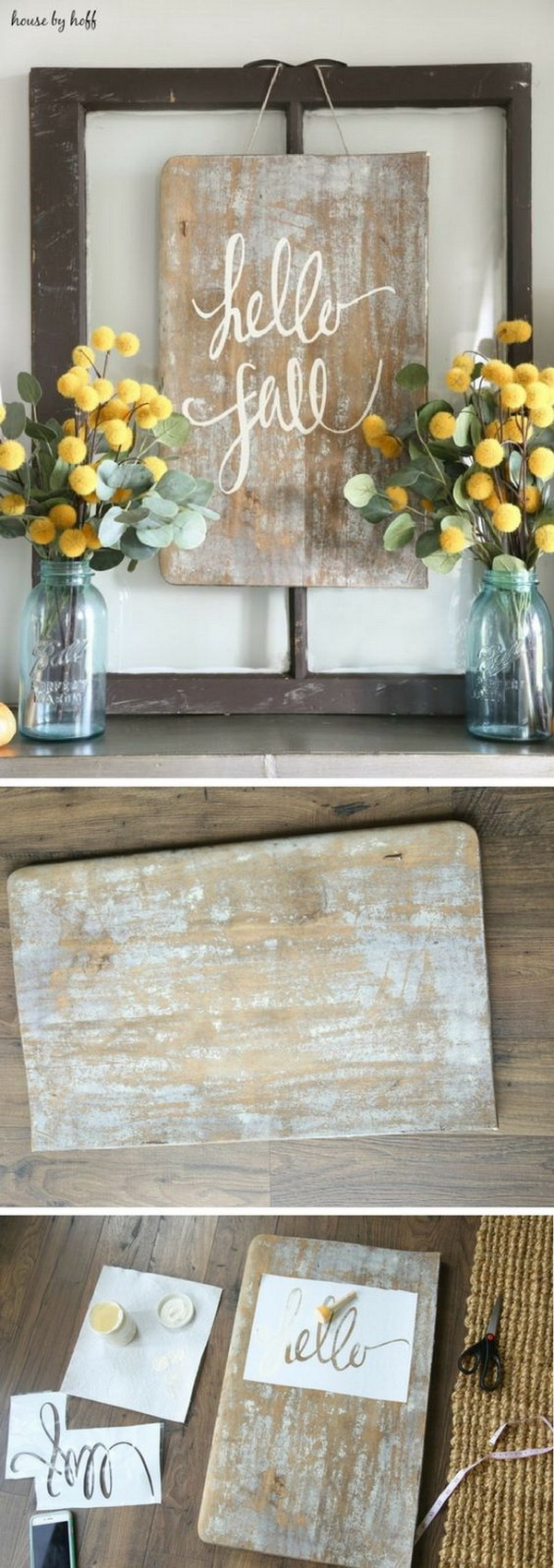 DIY Rustic Sign For Fall. Create your own rustic decor for the fall season with this easy project! Place it on your fireplace, front steps or countertop for the perfect welcoming sign for fall!