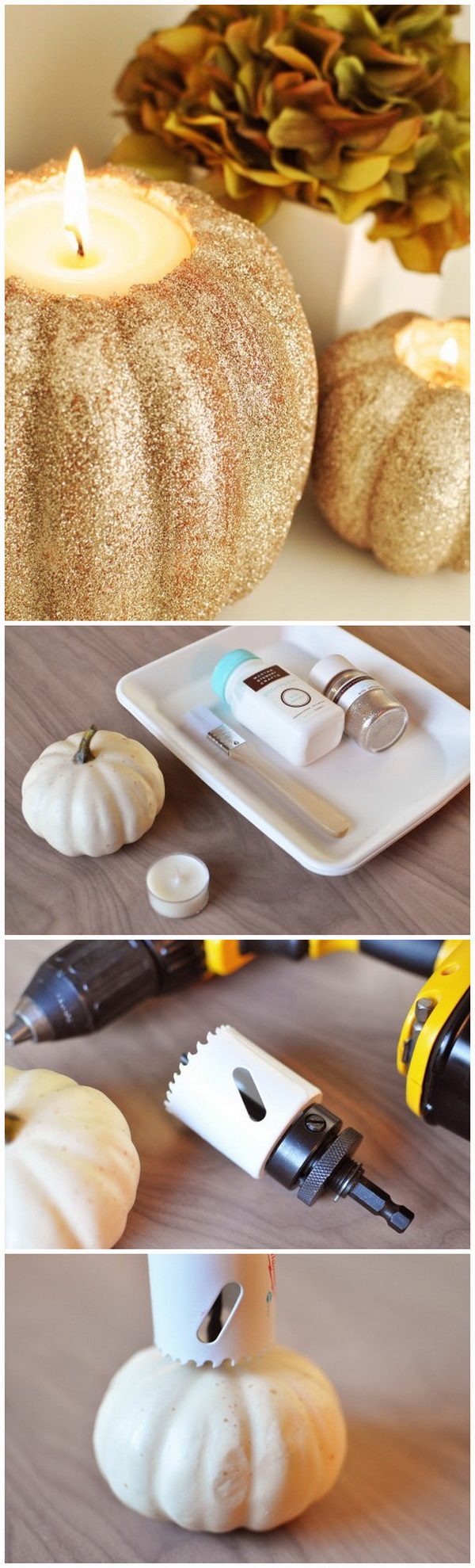 DIY Glittery Pumpkin Candle Holders. These glitter pumkin candle holders are perfect for the holiday season to decorate your room or home or you can also use it as a cute gift made with love.