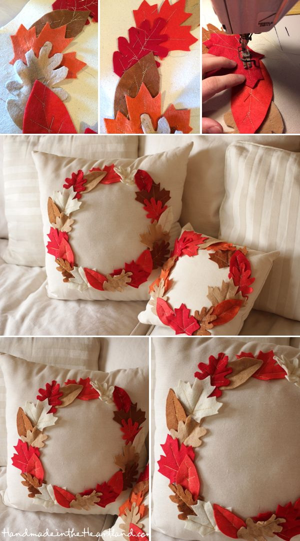DIY Thanksgiving Leaf Pillows. Make a beautiful fall leaf throw pillow for your living room.