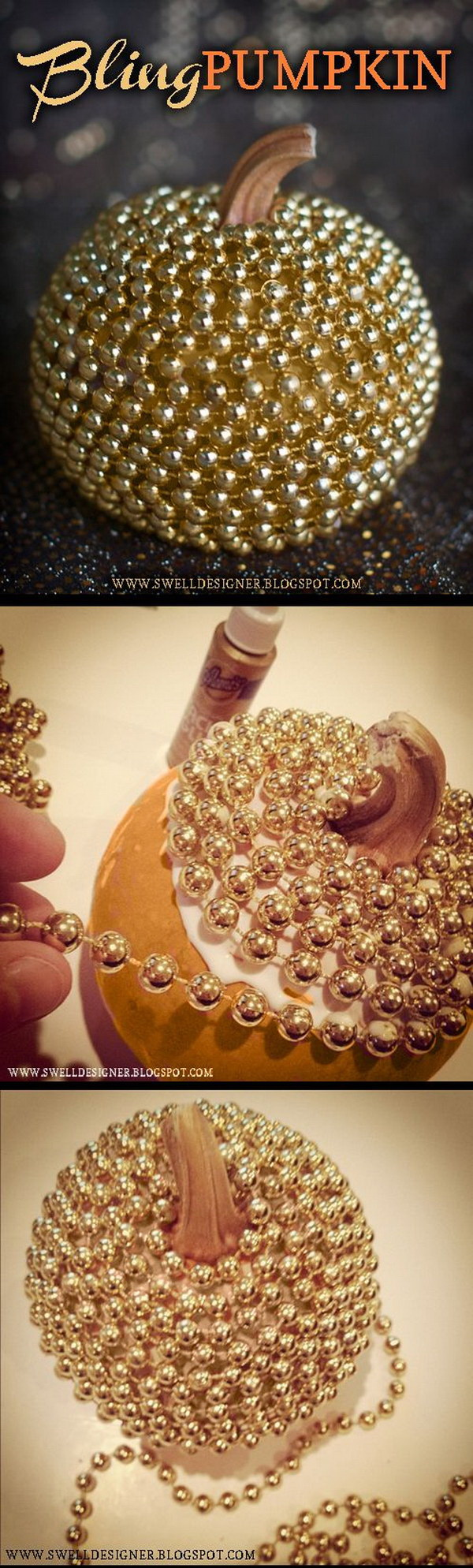 Gold Bling Metallic Pumpkins DIY. Make a cool and stylish metallic pumpkin in no time using Tacky Glue and a string of gold mardi gras beads. No-carving pumpkin decoration ideas! Stunning and eye-catching!