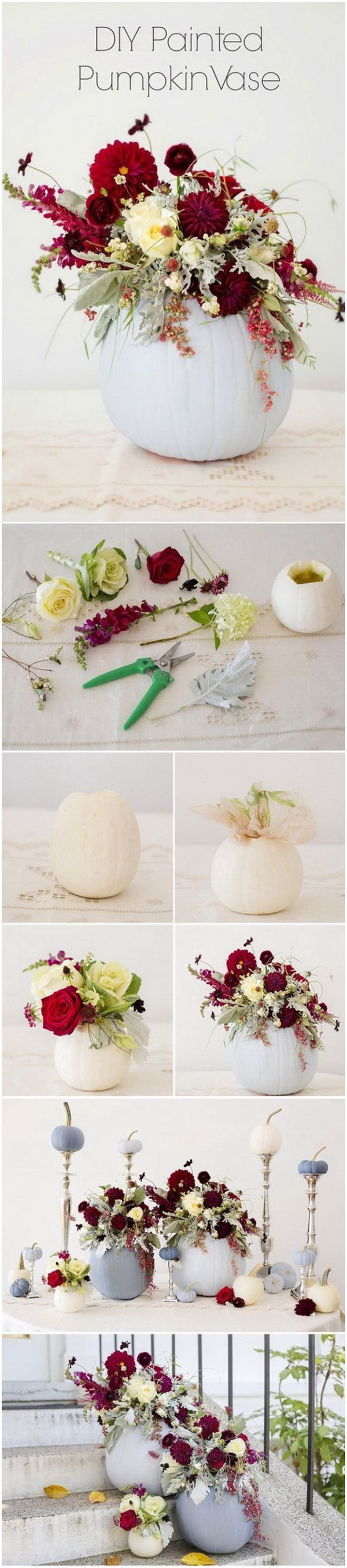 DIY Painted Pumpkin Wedding Vase. Make use of pumpkins as baskets and centerpieces for autumn weddings. Make this dusty blue pumpkin flower vase with several steps! It is great for fall weedding table venterpiece!