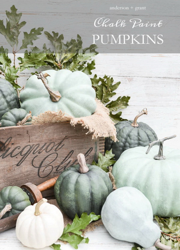 Dry Brushed Chalk Painted Pumpkins. Give the plain fake pumpkins from dollar store a new look with your crestivity! It adds a touch of shabby chic charm to your fall decor.