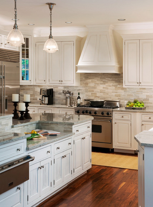 Gray travertine backsplash.. Stunning kitchen backsplash ideas. An elaborate kitchen backsplash complements the room's decor and adds to the aesthetic appeal of the kitchen, increase the entire look and value of your kitchen.