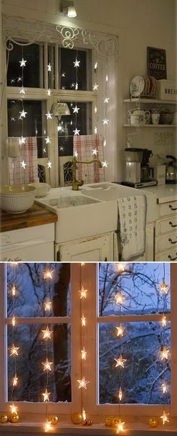 Christmas Lights Window Decor. Don't overlook your window decoration for holiday! Here is a great and easy idea by decorating your windows with Christmas lights in the form of stars. It will make an amazing and lovely ambiance inside the room that can be seen from outside as well.