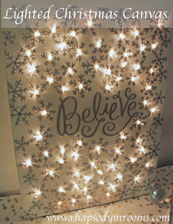 Lighted Christmas Canvas. Make a lighted Christmas canvas with a special
