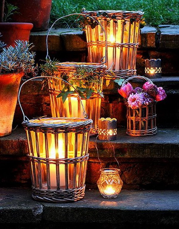 Wicker Lanterns. Wicker baskets can be colorful and decorative project for holiday and add warmth to any type of decor. Simple add some lights or candles to make these stunning outdoor lanterns for Christmas! It would bring a natural element and a bit of romance to your yard or front porch.