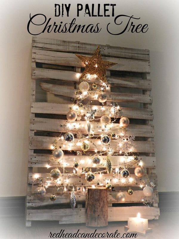 DIY Lighted Pallet Christmas Tree. Make a stunning and sparkling Christmas Tree from reclaimed pallets and Christmas ornaments and lights! You will cherish this Pallet Christmas tree from years to years!
