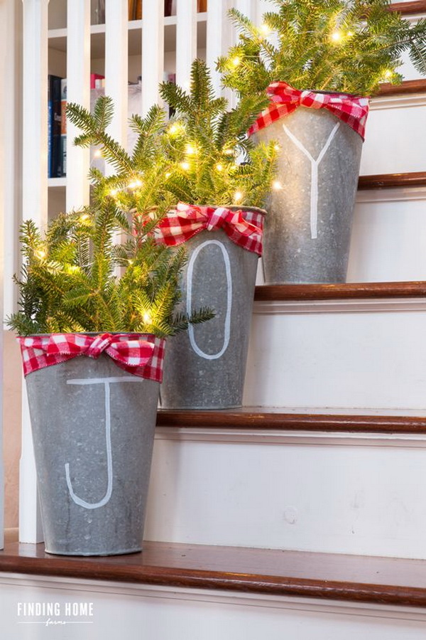 Galvanized Buckets with Chalk Pen Lettering. This JOY galvanized buckets is so simple and yet so pretty and festive. Love Love Love!!!
