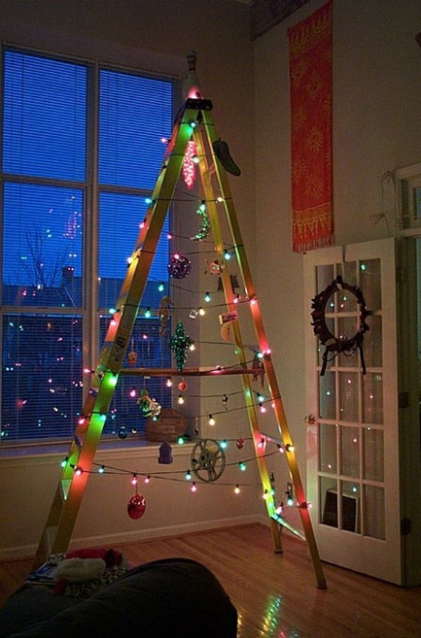 christmas ladder tree with colorful fairy lights find a ladder and hang ornaments on it