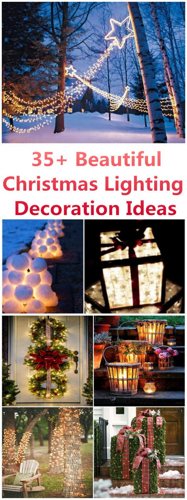 35+ Beautiful Christmas Lighting Decoration Ideas. Christmas is right around the corner. It is time to share your holiday spirit with your home decor. The colorful, sparkling and twinkling lights on the walls and edges of a house bring a festive look to Christmas decorations and make your home look like a palace! Electric string or fairy lights can add a romantic, festive and warm mood to our space or occasions and create a magical scene for Christmas!