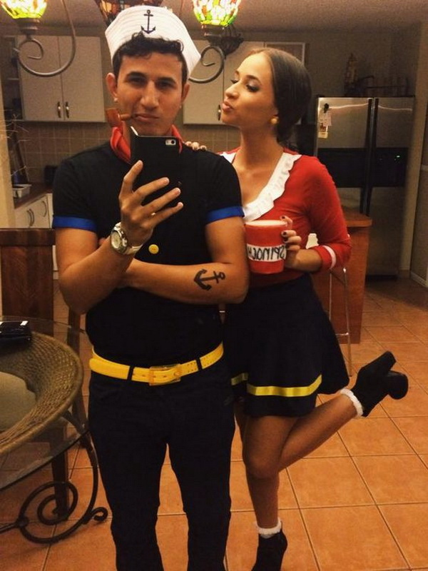 Popeye and Olive Oyl for Halloween. Stylish Couple Costumes for Halloween.
