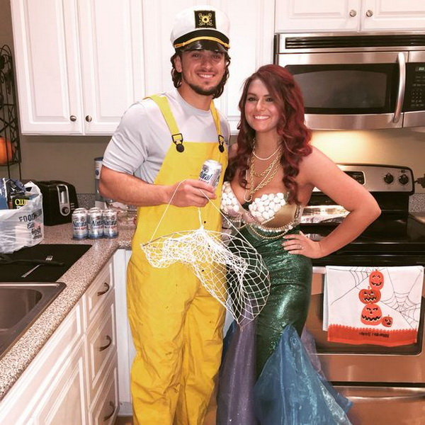 Mermaid and Fisherman Halloween Costume. Stylish Couple Costumes for Halloween.
