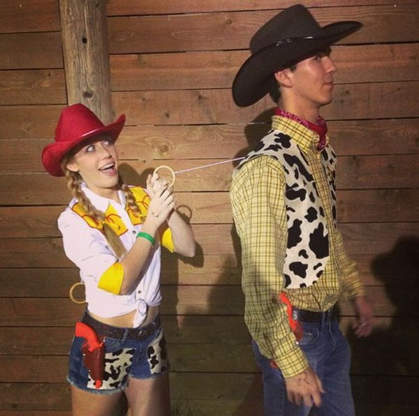 Woody and Jessie Toy Story Couple Costume. Stylish Couple Costumes for Halloween.