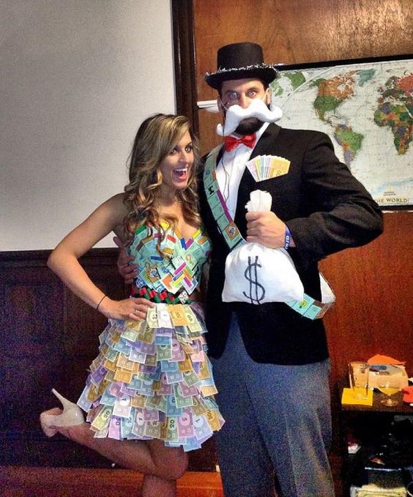 DIY Monopoly Halloween Couple Costume. Stylish Couple Costumes for Halloween.
