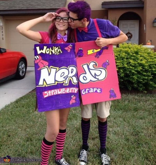 Cute NERD'S Candy Costume. Stylish Couple Costumes for Halloween.