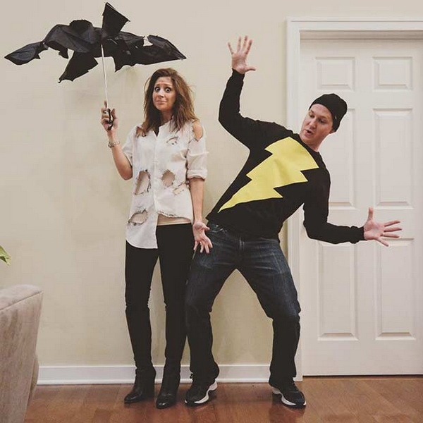 Lightning Strike. Stylish Couple Costumes for Halloween.