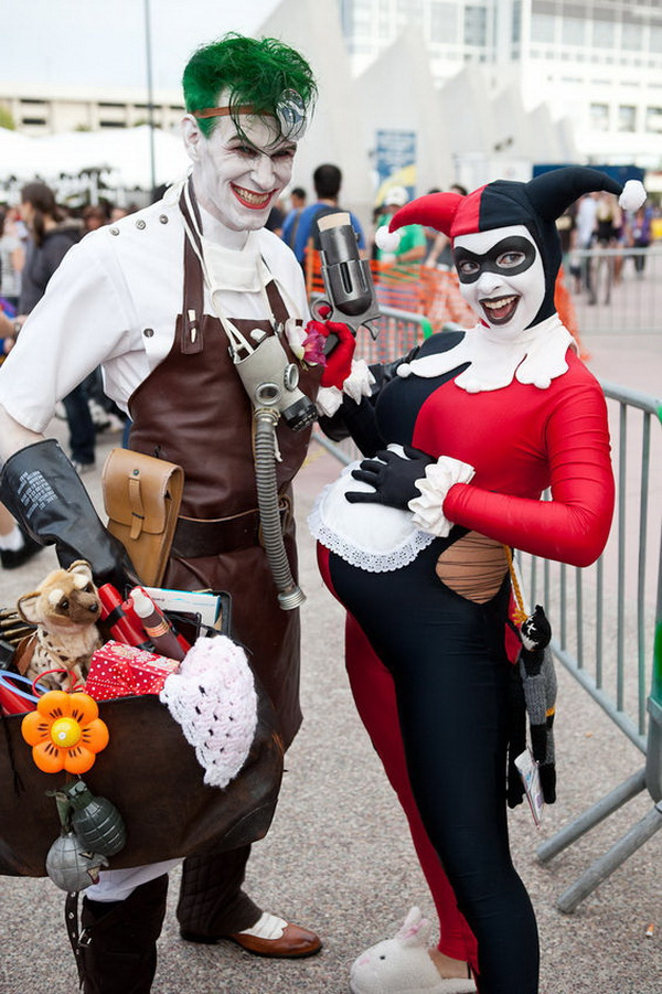 Suicide Squad's Joker and Harley Quinn Couples Costume. Stylish Couple Costumes for Halloween.