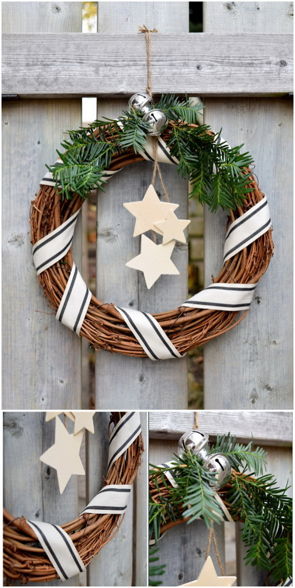 Rustic Willow Wreath. This rustic willow wreath is a stunning, natural-looking addition to any door. It is easy and quick to make in just 10 minutes! Make a wreath with willow and tighten with ribbons, and then add some wooden stars to twine, bells and tied it all to the wreath form.