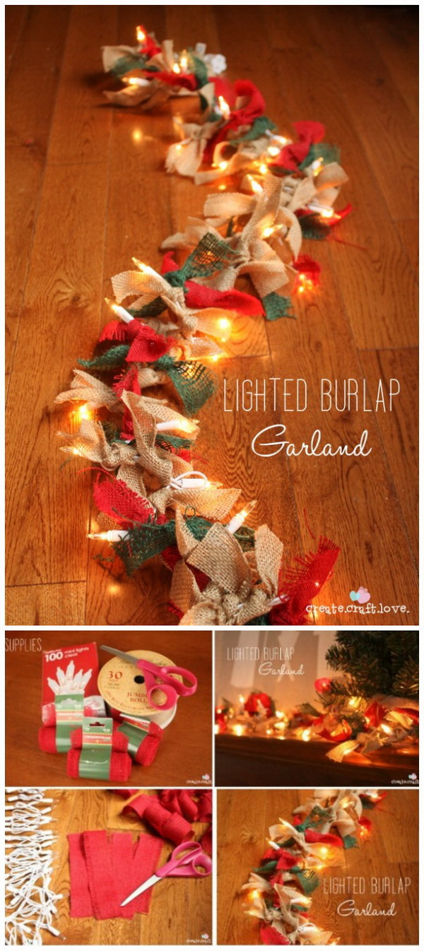 Lighted Burlap Garland. Drape this light up garland anywhere! It looks great on your mantle, entryway, or even on your Christmas tree!