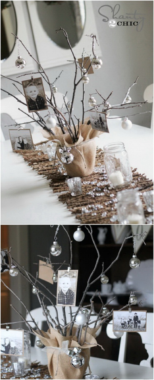 Rustic Photo Tree Centerpiece. Every holiday table deserves a festive statment centerpiece! Burlap, branches, jingle bells and photos work together to make this the perfect centerpiece.