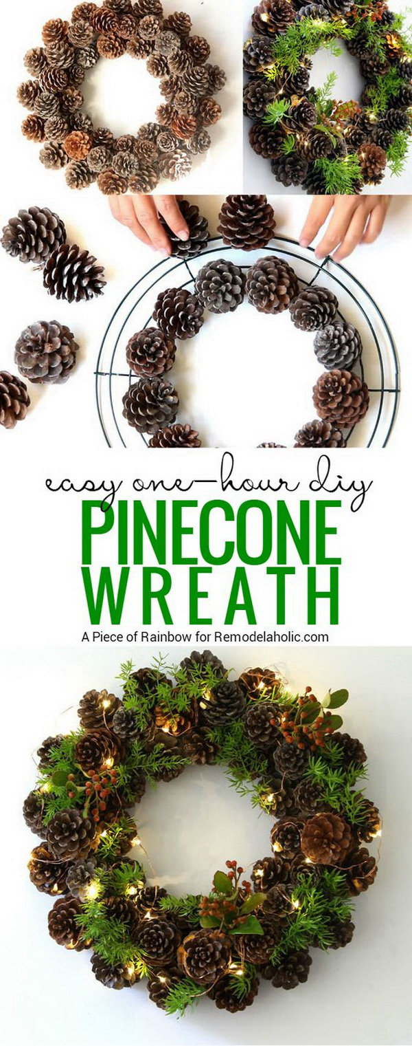 DIY Lighting Pinecone Wreath. Fall season is in full swing! Pinecones grow heavy enough to fall from their parent trees and disperse their seeds. Go to your yard and collect fallen pinecones for those innovative craft projects. You can make your own pinecone wreath with lighting for the front door or above the fireplace!