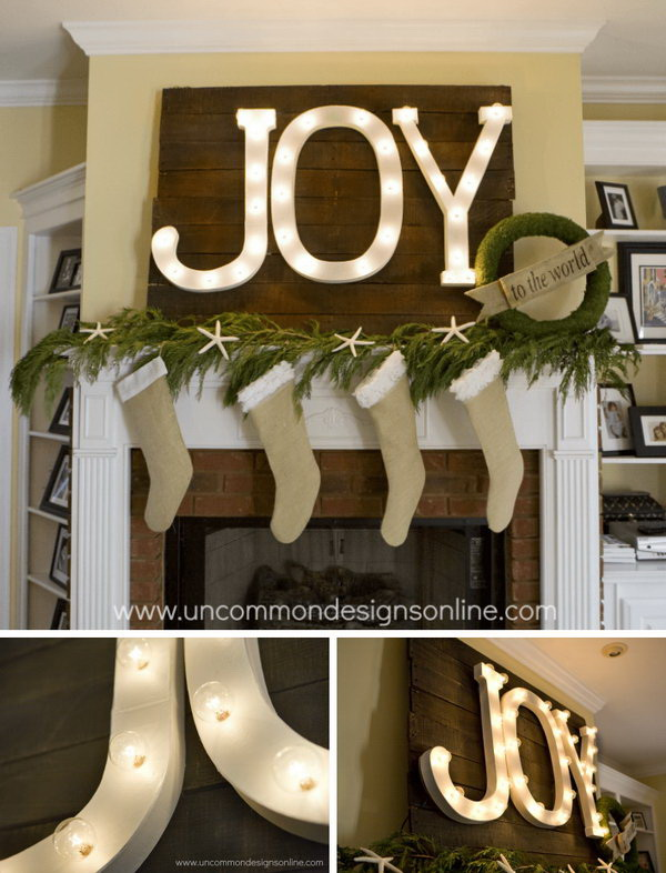 DIY Holiday Mantel Joy Marquee Sign. Light up your home with this stunning Joy marquee sign during this holiday. Your farmhouse-themed mantel deserves a beautiful statement like this one.