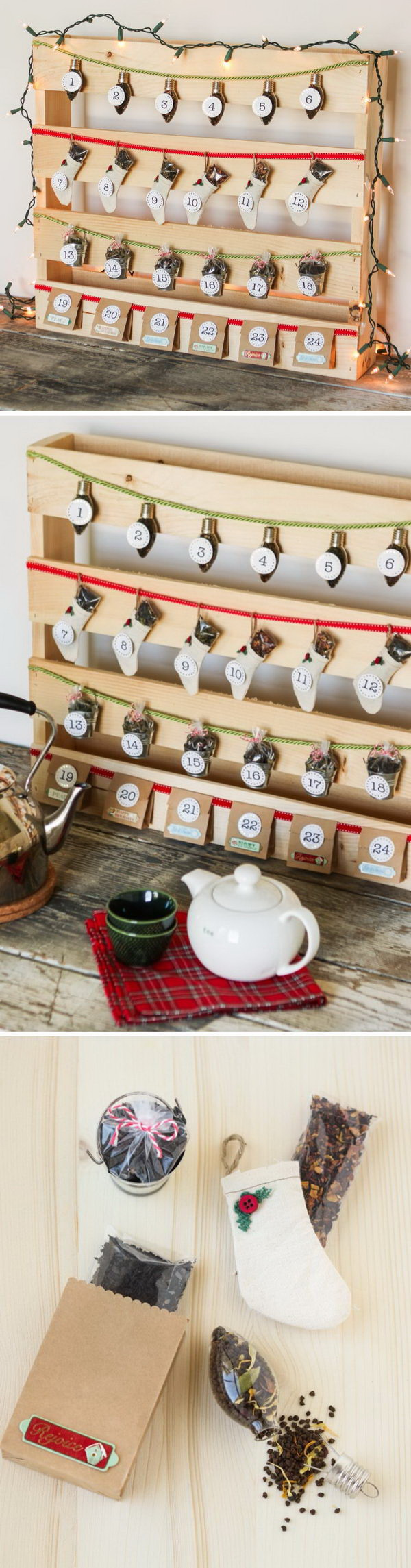 DIY Pallet Tea Time Advent Calendar. Use inexpensive large pallet board and other simple things to create this great tea time advent calendar. What an amazing way for you to count down until the holiday season!