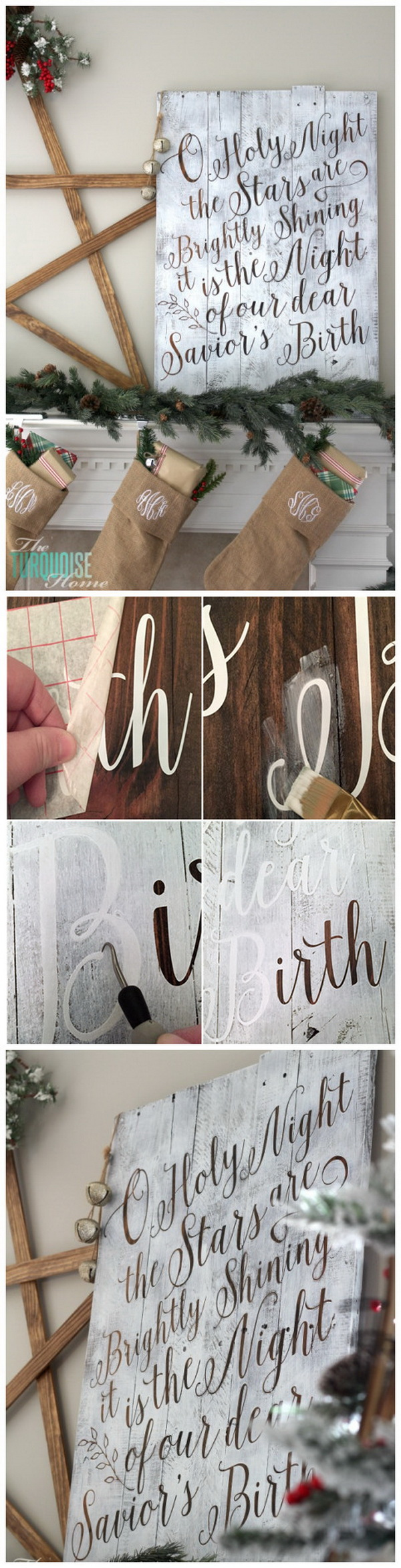 DIY Christmas Stenciled Lettered Pallet Sign. This Christmas stenciled lettered pallet sign is grogeous, and it gives your house that desired farmhouse feel.