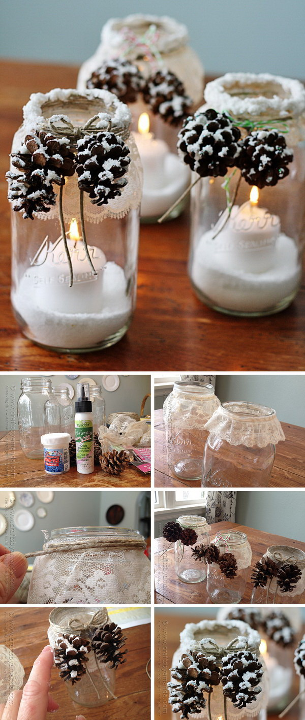 Mason jars make great holiday luminaries. Learn how to make these snowy pinecone candle jar luminaries for this Chirstmas and winter season.