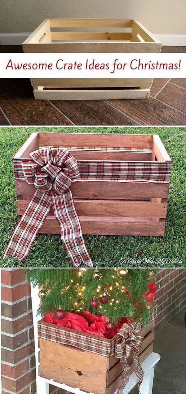 DIY Faux Wood Crate Planter for Christmas. Turn the simple wood crate with fairy lights, ribbons and greenary into this beautiful planter for your Christmas decoration.