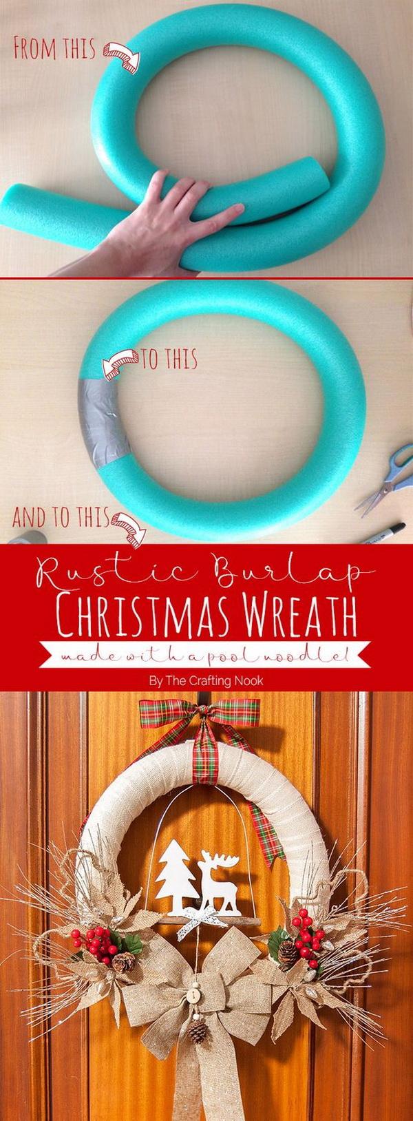 Rustic Burlap Christmas Wreath.