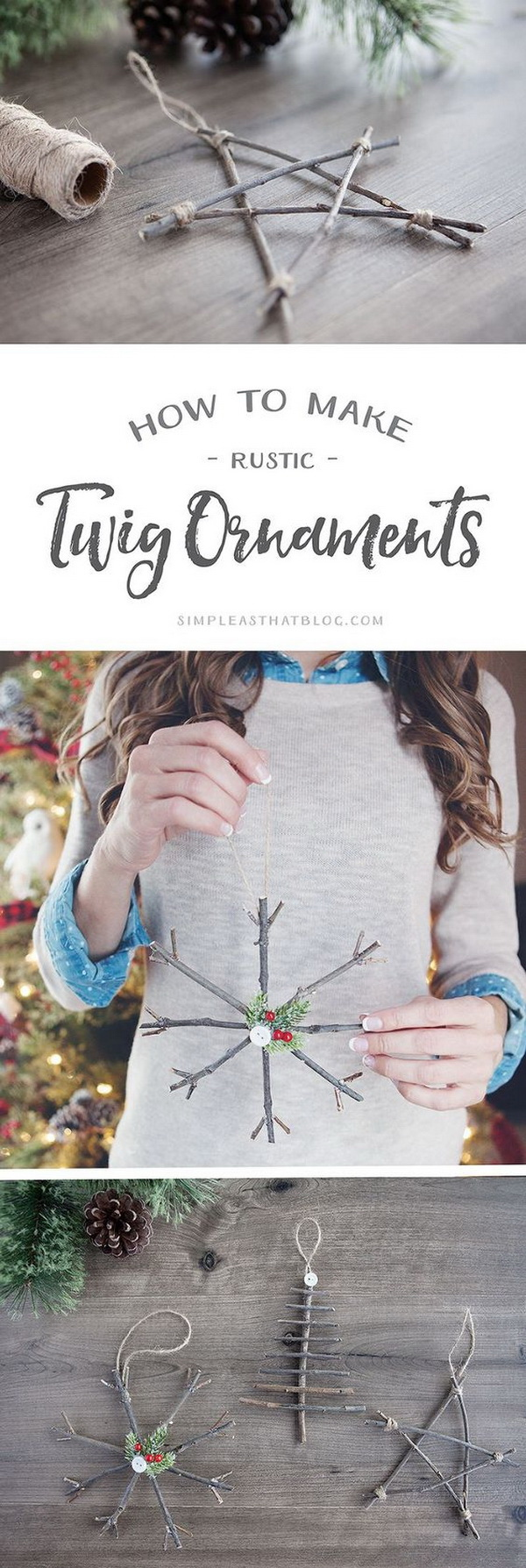 DIY Rustic Twig Christmas Ornaments. Bring a touch of nature indoors this year as you decorate your tree with these rustic twig Christmas ornaments! They're simple, inexpensive and look beautiful!