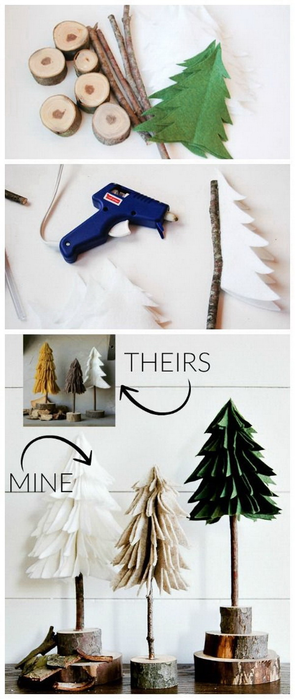 DIY Rustic Felt Christmas Trees. These felt trees are super easy and inexpensive to make and great for your mantel decoration this Christmas season.