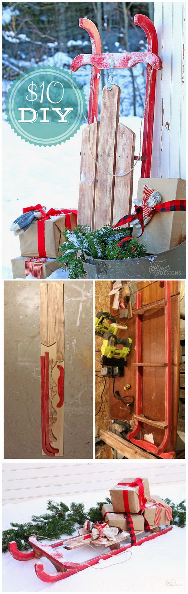 Repurpose the old sled that you do not use anymore into an awesome decor piece for your holiday.