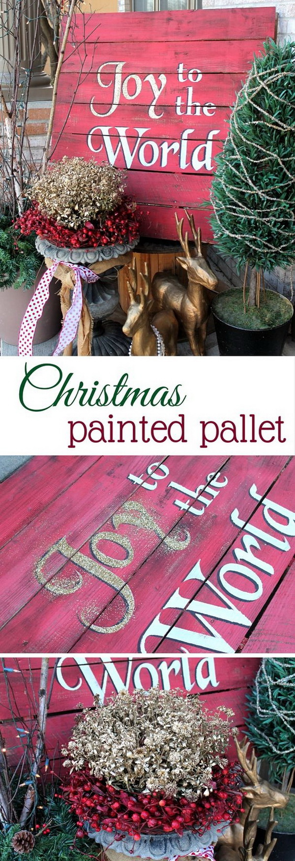 Joy to the World Christmas Painted Pallet. This painted Christmas Pallet makes a festive front porch decor for this holiday seaon. It is easy to make by painting and stencilling in gorgeous colors.