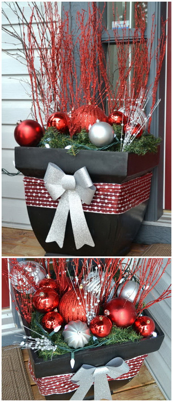christmas outside planter for front porch - Outdoor Christmas Decorating Ideas Front Porch