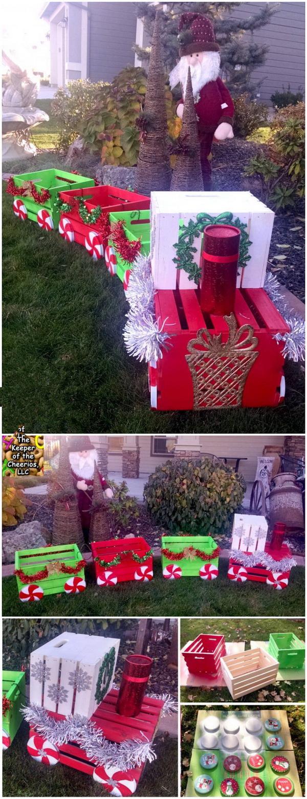 Diy christmas yard decoration ideas for Outdoor christmas train decoration