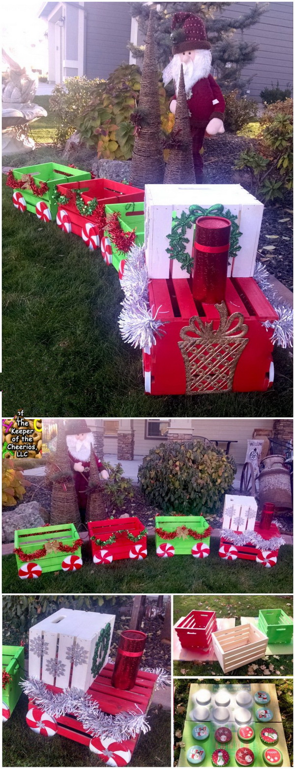 DIY Christmas Crate Train Craft for Outside. Those inexpensive wooden crates are perfect for creating fun and festive holiday projects. These adorable painted wooden crate trains are really the perfect addition to your front porch decorations.
