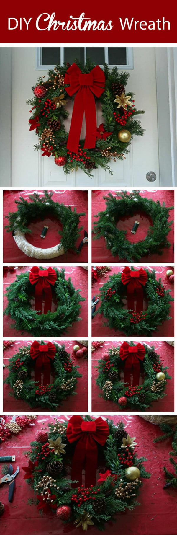 homemade christmas wreath - Cheap Outdoor Christmas Decorations