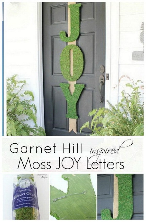 Garnet Hill Inspired Moss Joy Letters. A beautiful and stunning decor piece on you front door and welcome the cheerful Christmas season!