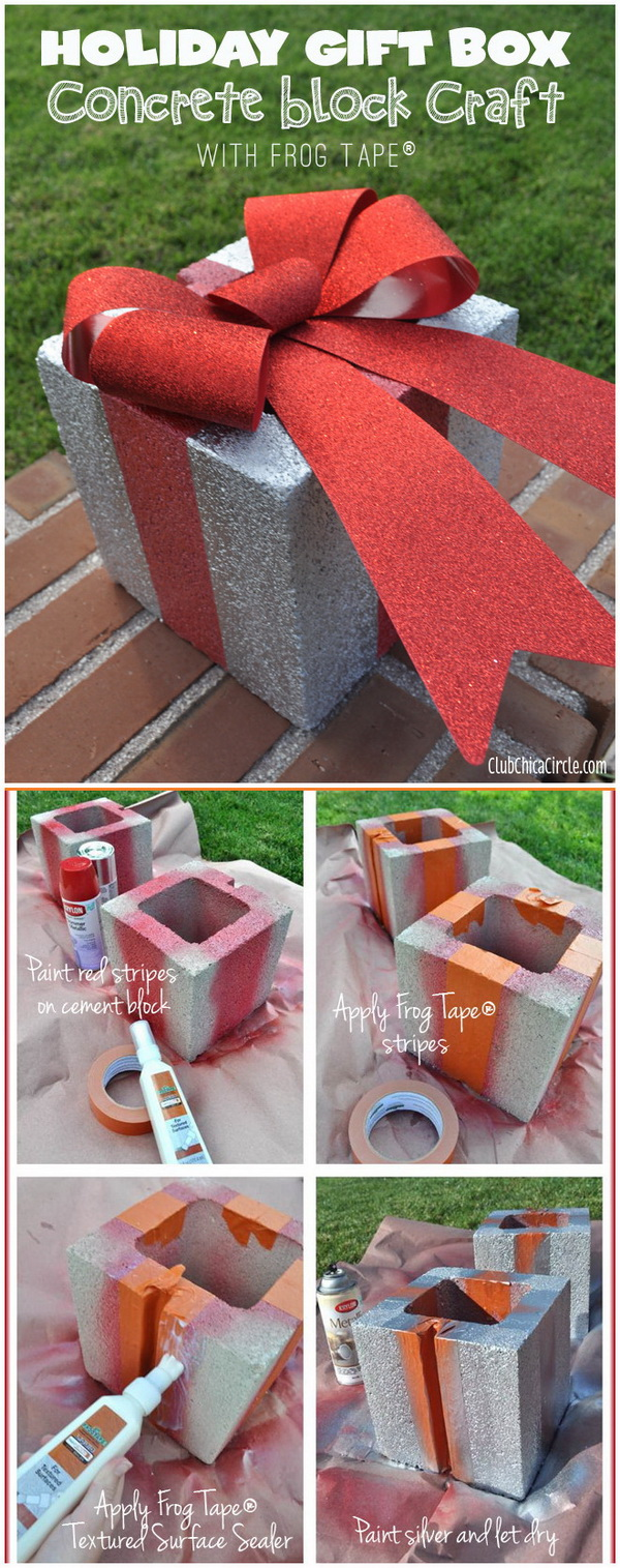 DIY Concrete Holiday Gift Box. Take those concrete squares and turn them into something festive for your holiday decoration by painting. The big bow made with Frog Tape really adds festive flair to your outdoor Christmas decoration.