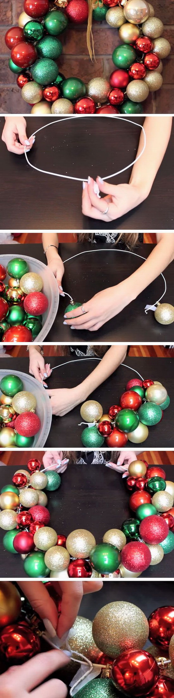 Homemade Projects & Ideas for Christmas Decoration: Christmas DIY: Beautiful Baubles Ornament Wreath.