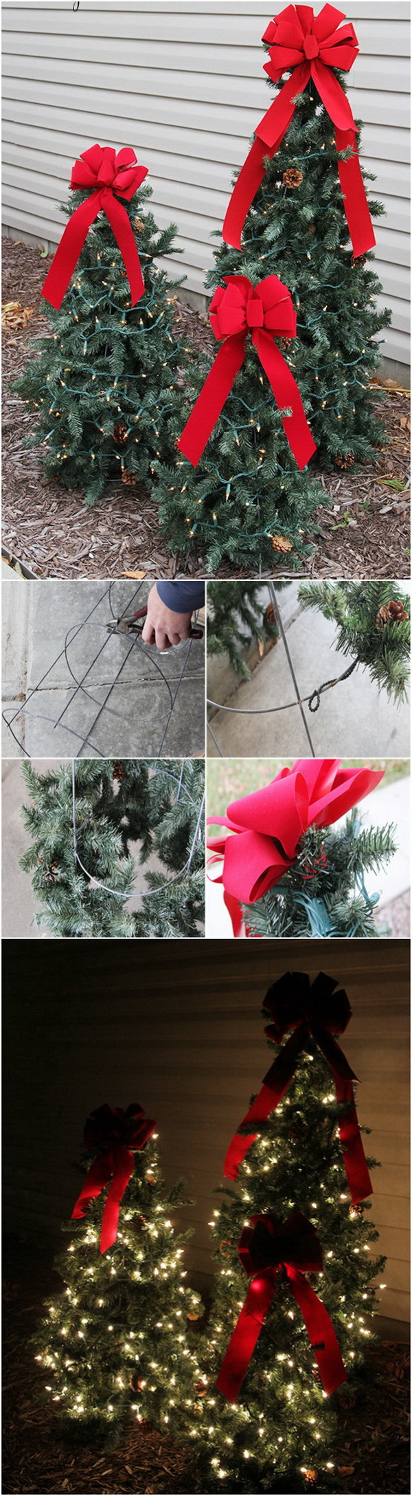 Homemade Projects & Ideas for Christmas Decoration: Tiered Tomato Cage Christmas Trees.