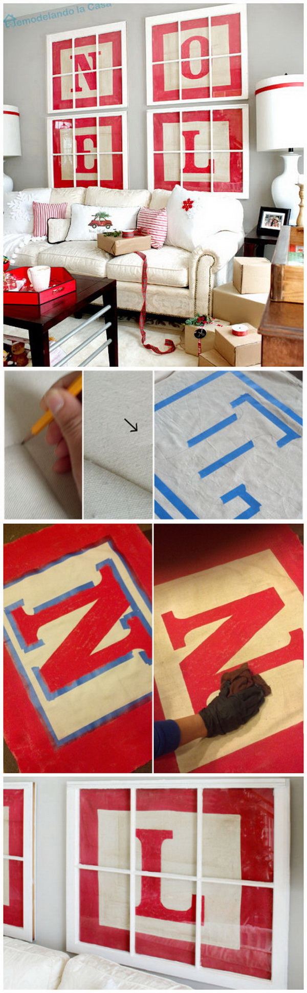Homemade Projects & Ideas for Christmas Decoration: Alphabet Block Letter Art.