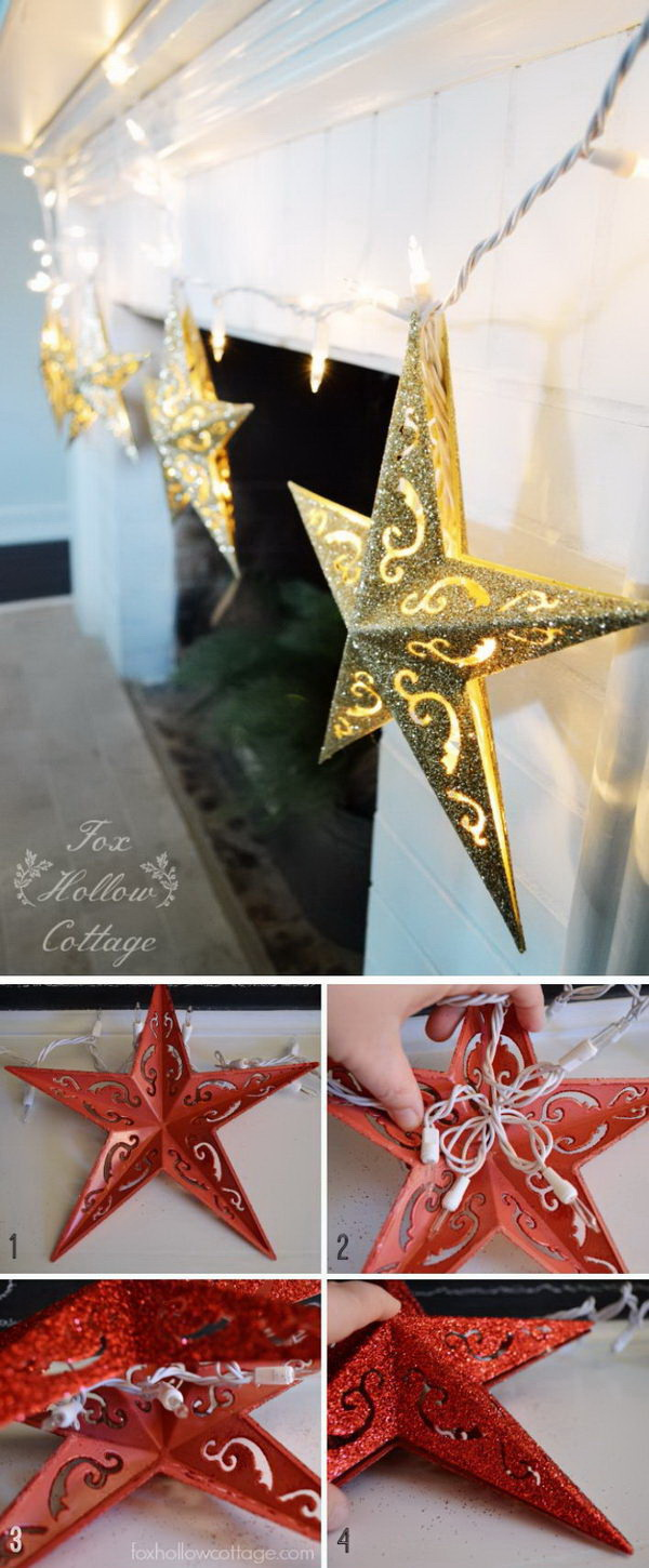 Homemade Projects & Ideas for Christmas Decoration: DIY Dollar Tree Christmas Ornament Lights.