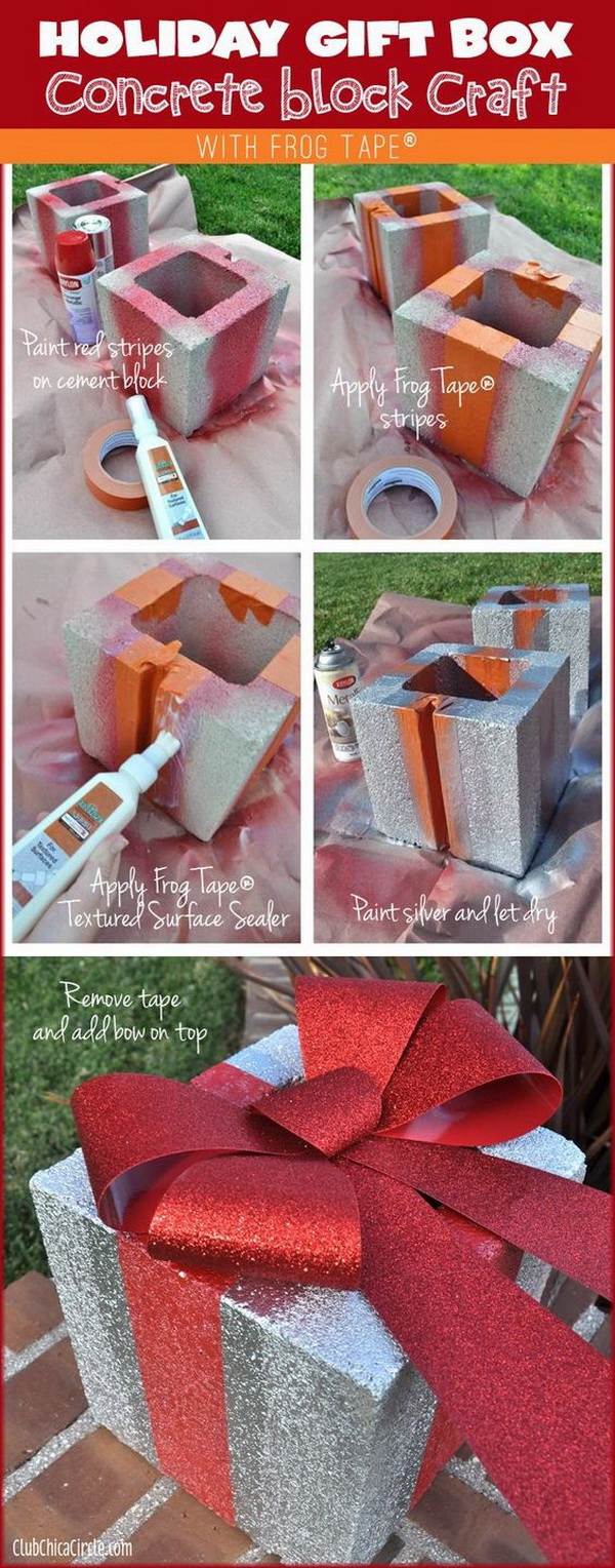 Homemade Projects & Ideas for Christmas Decoration: DIY Holiday Gift Box Concrete Brick.