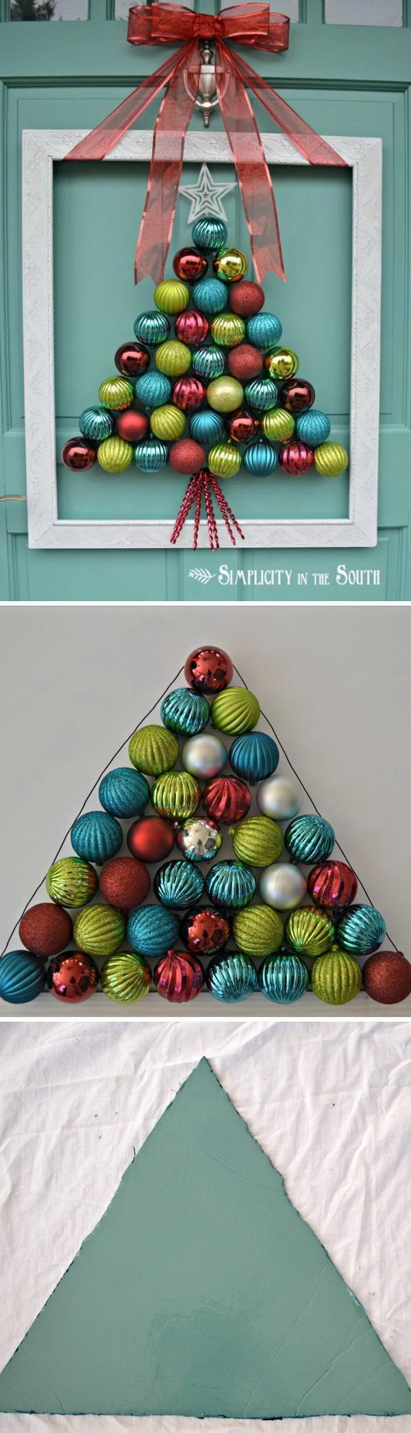 homemade projects ideas for christmas decoration framed christmas tree ornament wreath - Homemade Christmas Decorations Ideas